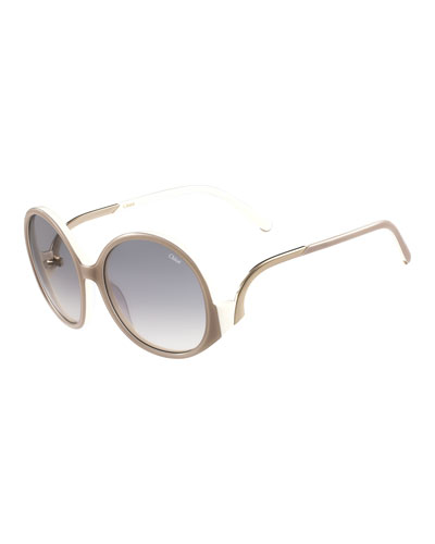 Emilia Round Oversized Sunglasses, Turtledove