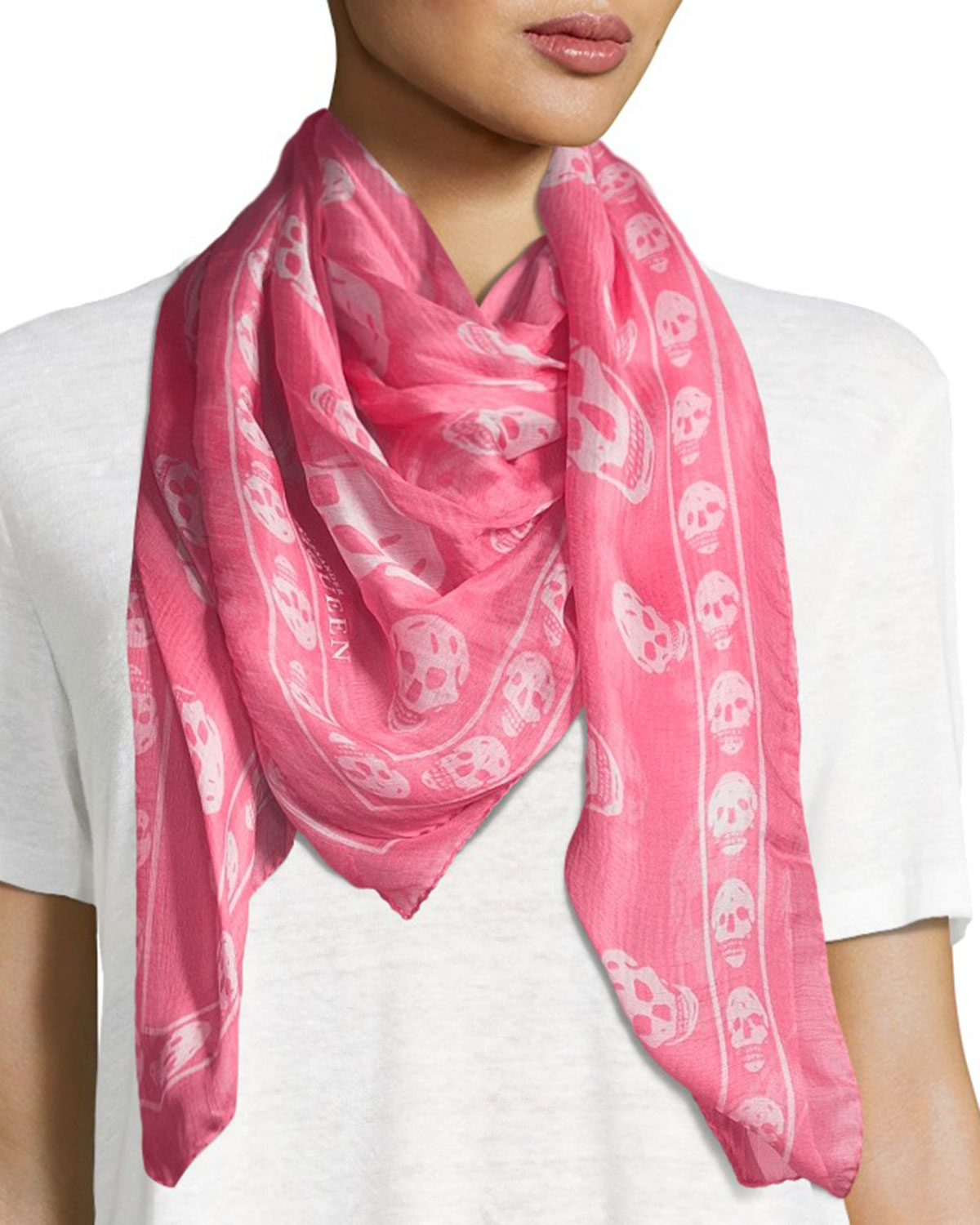 Silk Mixed Skull Scarf, Ivory/Pink