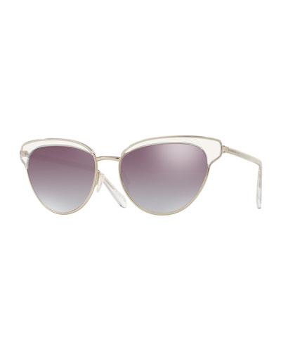 Josa Mirrored Cat-Eye Sunglasses, Silver