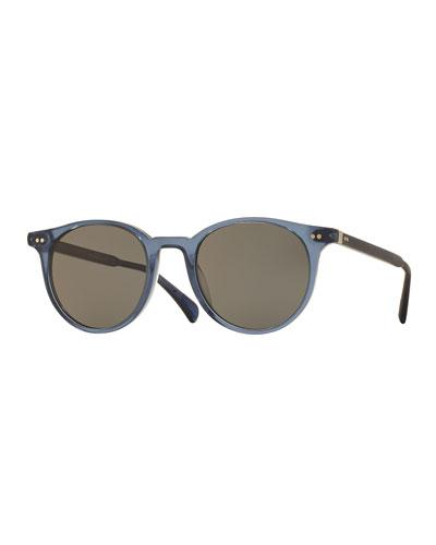 Delray Round Semi-Matte Sunglasses, Blue