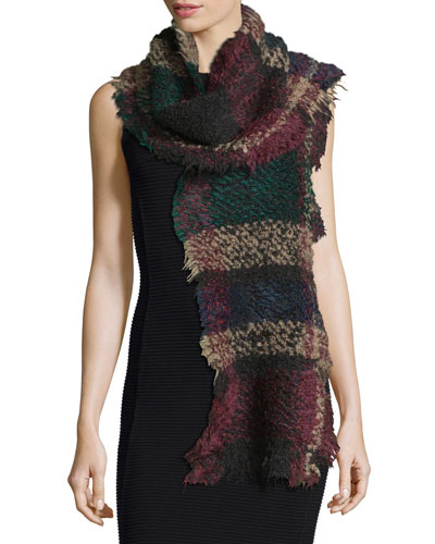 Exagere Fuzzy Plaid Raw-Edge Scarf, Multicolor