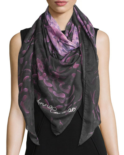 Floral Voile Square Scarf, Pink/Navy