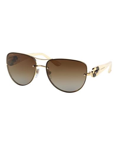Universal-Fit Aviator Sunglasses, Cream