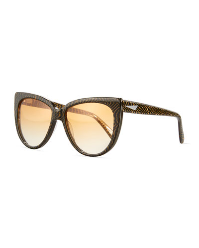 Moscow Cat-Eye Sunglasses, Tiger Stripe