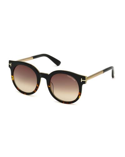 Janina Two-Tone Cat-Eye Sunglasses, Havana