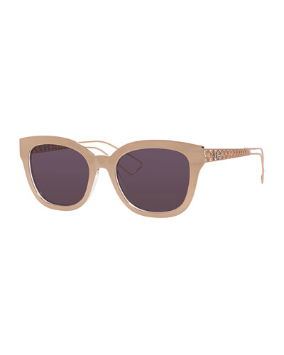 Ama Caged Mirrored Sunglasses, Gold