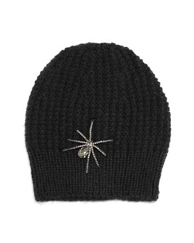 Crystal Spider Knit Beanie Hat, Black