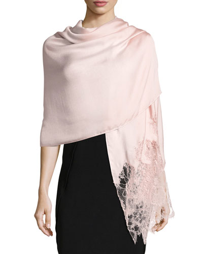 Valentino Woven Lace-Trim Shawl, Pink