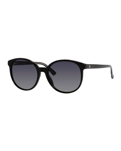 GG-Temple Round Butterfly Sunglasses, Black