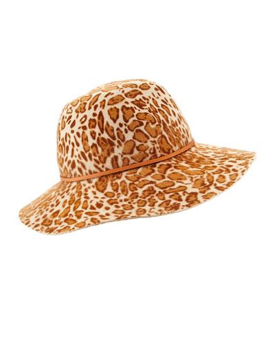 Fifika Printed Felt Hat, Leopard