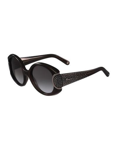 Round Gradient Rhinestone Sunglasses, Black/Gray