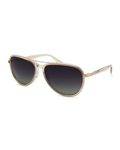 Gazarri Polarized Aviator Sunglasses, Champagne/Green