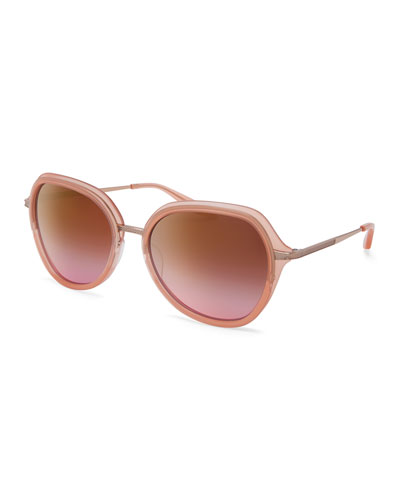 Leilani Round Mirrored Sunglasses, Rose