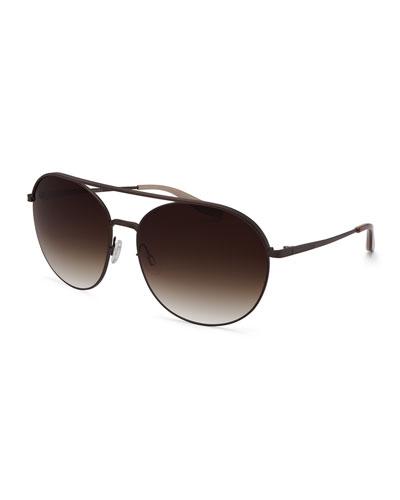 Luna Round Sunglasses w/Brow Bar, Java