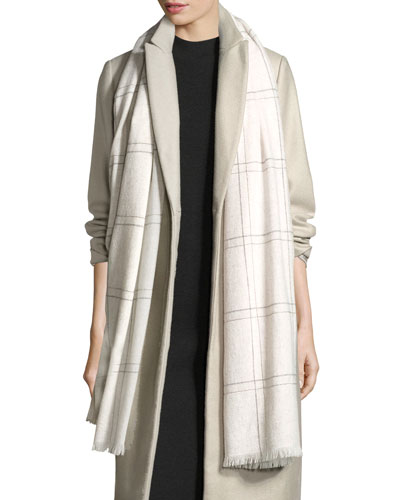Check Cashmere Monili-Trim Scarf, Grainy White