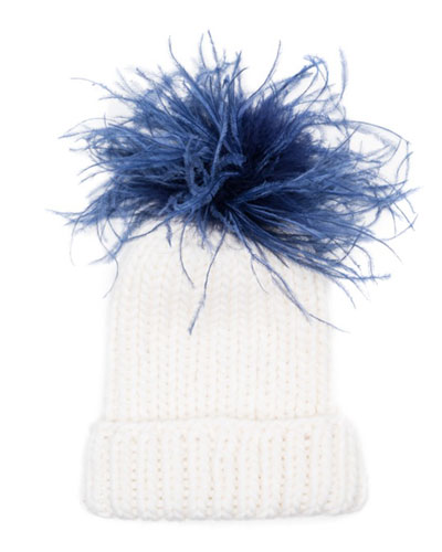 Rain Winter Beanie Hat w/ Feather Pom-Pom, White/Blue