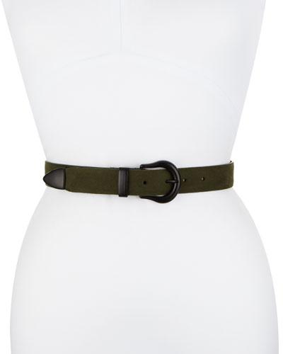 Marianna Suede Belt, Green