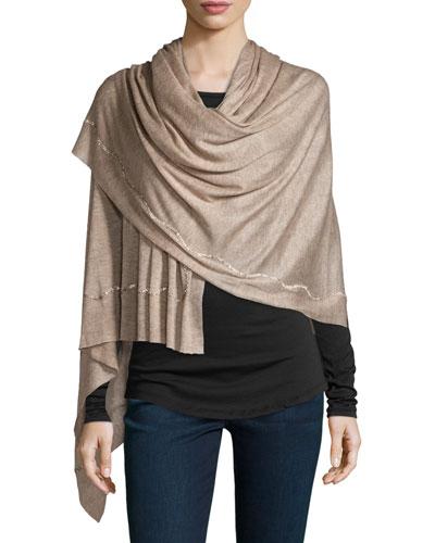 Rania Swarovski® Crystal Cashmere & Silk Scarf, Taupe