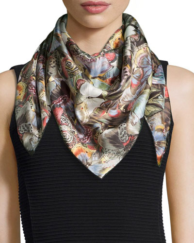 Camu Butterfly Print Scarf, Multicolor