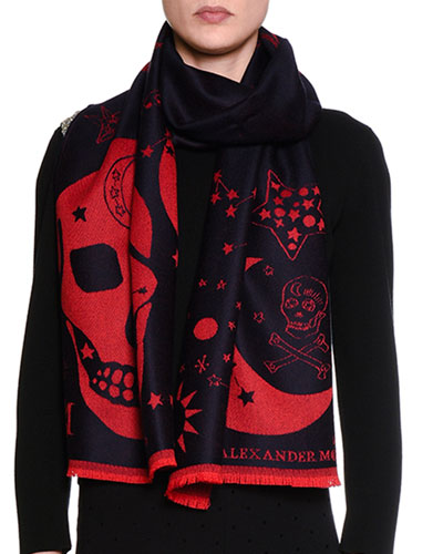 Oversize Skull Wool Scarf, Blue/Red