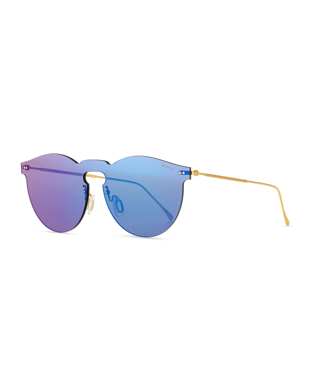 Leonard Rimless Mirrored Sunglasses, Teal