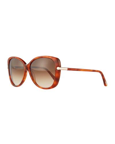 Square Acetate Sunglasses, Rose Gold
