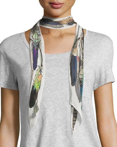 Feathers Super Skinny Silk Scarf, Ivory