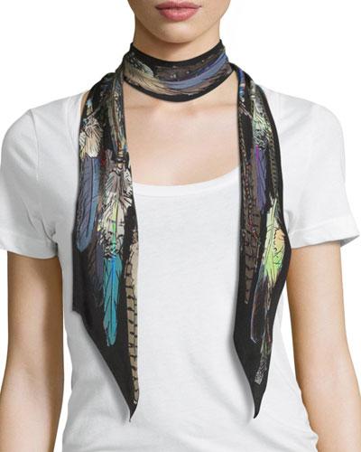 Feathers Super Skinny Silk Scarf, Black
