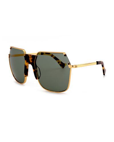 Rolst Angled Square Sunglasses, Gold