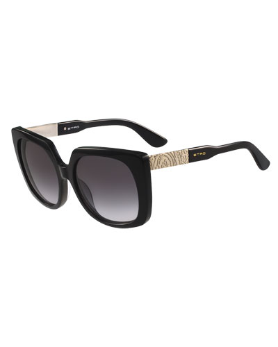 Oversized Square Paisley-Temple Sunglasses, Black