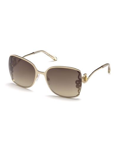 Wasat Etched Butterfly Sunglasses, Rose Gold