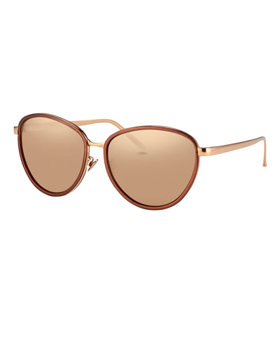 Rounded Cat-Eye Two-Tone Sunglasses, Rose Gold