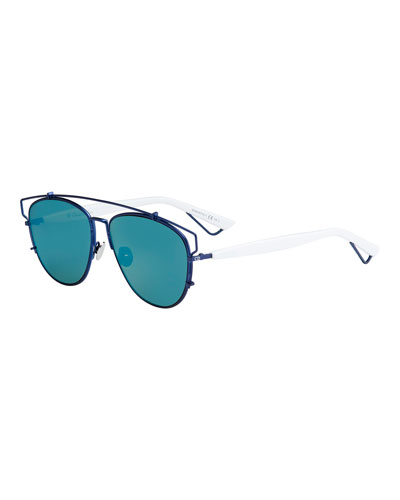 Technologic Mirrored Metal Sunglasses, Matte Blue/White