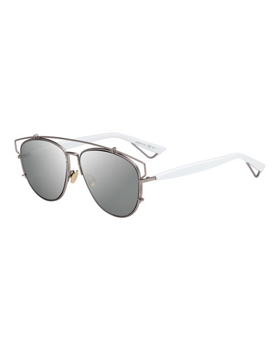 Technologic Mirrored Metal Sunglasses, Matte Pink/White