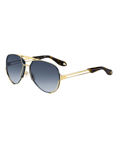 Interchangeable Aviator Sunglasses, Gold