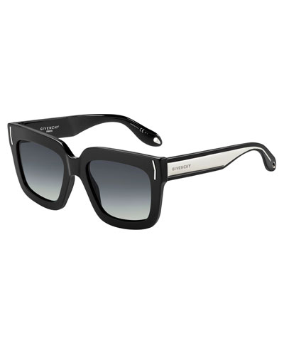 Square Metal-Band Sunglasses, Black