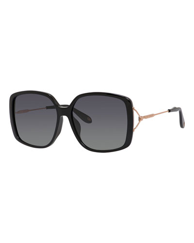 Gradient Square Sunglasses, Black/Gold