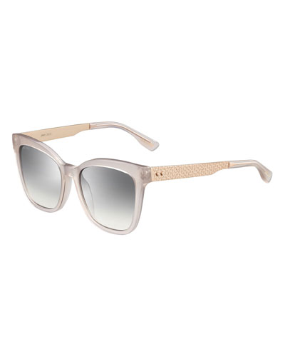 Square Metal-Temple Sunglasses, Pink