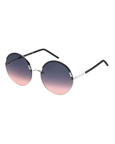 Interchangeable Round Sunglasses, Silver/Black