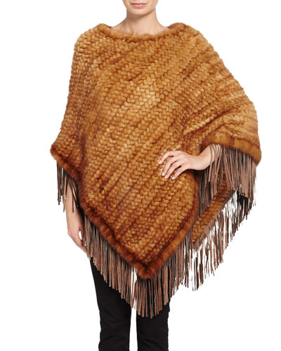 Fringe Mink Fur Poncho, Brown
