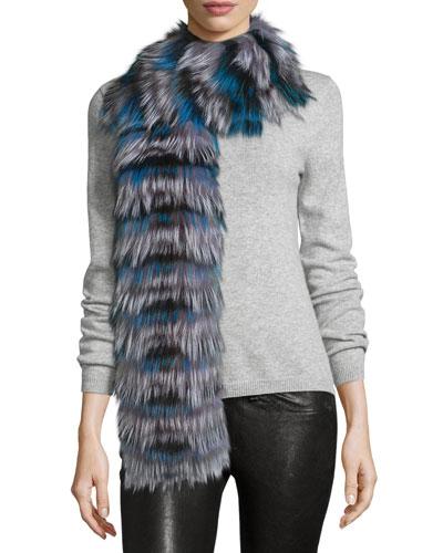 Layered Fox Fur Scarf, Blue/Black