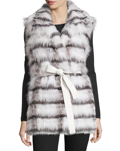 Belted Fox Fur Vest, White/Silver