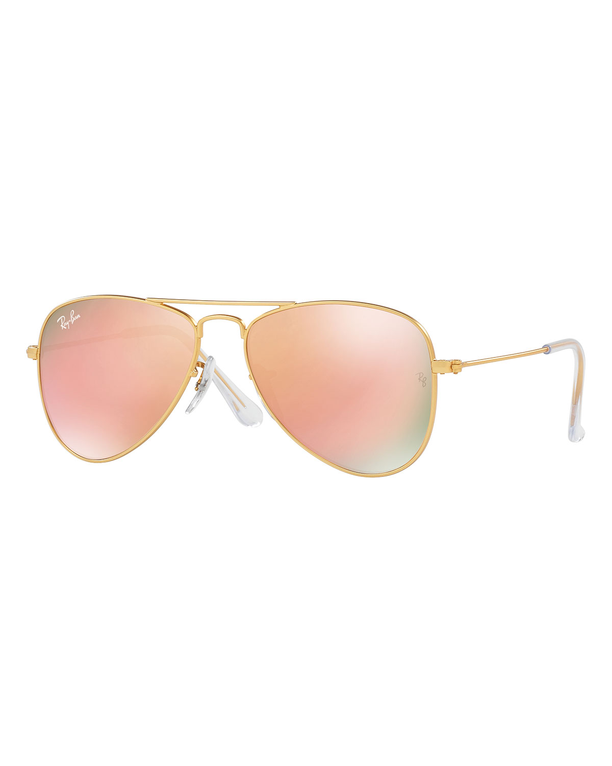 Iridescent Aviator Sunglasses, Gold/Copper