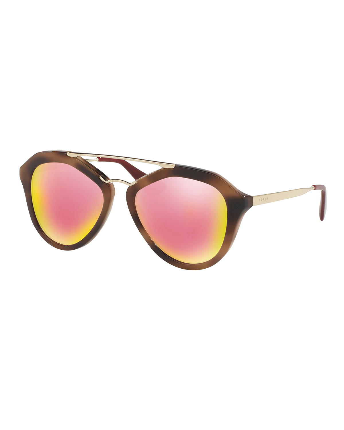 Iridescent Geometric Sunglasses, Brown