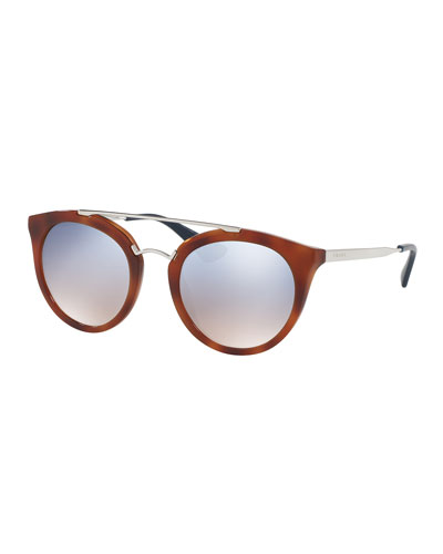 Iridescent Cat-Eye Double-Bridge Sunglasses, Light Brown/Silver