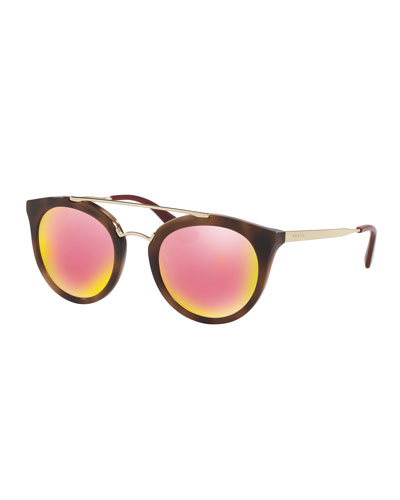 Iridescent Cat-Eye Double-Bridge Sunglasses, Brown/Gold