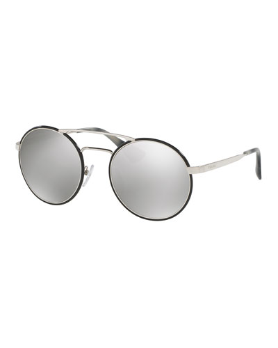Trimmed Mirrored Round Sunglasses, Silver/Black