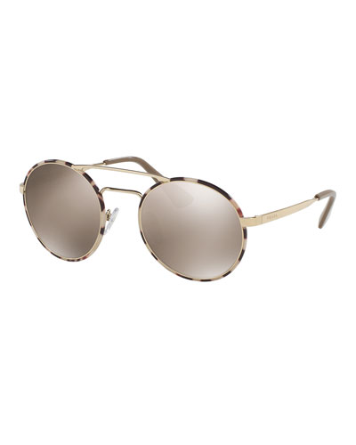 Trimmed Mirrored Round Sunglasses, Gold/Tortoise