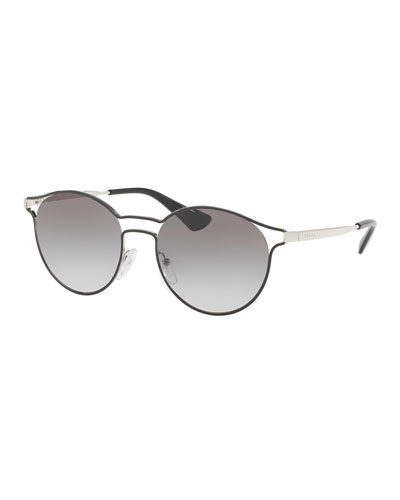 Round Metal Open-Inset Sunglasses, Black
