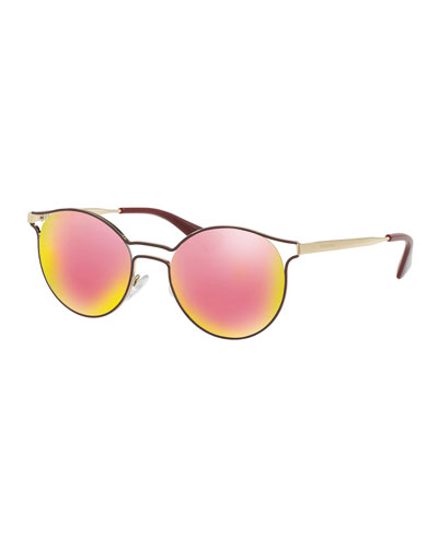 Round Metal Open-Inset Sunglasses, Bordeaux/Gold